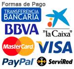 MasterCard, Maestro, Visa, Amex